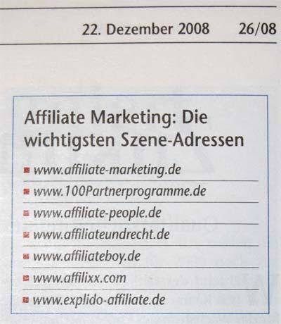 Wichtige Affiliate-Marketing-Webseiten